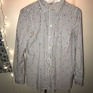 Old Navy Heart & Stripes Button Up